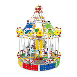 Wholesale 3d Set Models - 3D Assembly Building Puzzles Metal Model Kits Toy Carousel Merry Go Round With Music Box 1423pcs Accessories Construction Play Set OTH618