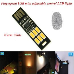 Wholesale Mini Power Bank Keychain - Wholesale- Mini USB LED Light Lamp Touch Dimmer Pocket Card 6 LED Bulb Keychain Night Warm Light 1W 5V For Later PC Computer Power Bank Hot