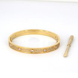 Titan Stahl Männer und Frauen lieben Schrauben Armbänder mit vollem CZ Diamant Silber Roségold Armreif mit Schraubendreher Armband für Liebhaber Schmuck von Fabrikanten