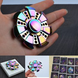 Wholesale Promotion Cube - Rainbow Muti-color Fidget Spinner Metal Hand Spinner Colorful Stress Wheel Cube Toys Rose Gold Spiner Adults children Gifts Promotion