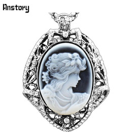 """Wholesale Vintage Cameo Necklaces - Wholesale-Vintage Look Antique Silver Plated Lady Queen Cameo Leaf Crystal Pendant Necklace 28"""" TN89"""
