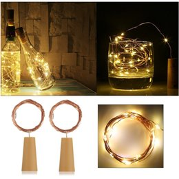 Wholesale Wine Kits Wholesale - Bottle Stopper Sliver Wine Cork 2M 20LED Battery Operated Fairy String Lights Bottle Lamp Kit Halloween Christmas Wedding Party Lamp