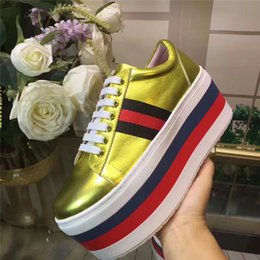Wholesale Gold Platforms Shoes - 2017 Autumn New Fashion Women Flat Platform Sneakers Patent Leather Lace Up Casual Shoes Thick Bottom Shoes Gold Silver Black White C17