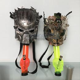 Wholesale Smoke Mask Wholesale - Acrylic Hookah Shisha Skull Silicone Water Pipes Bongs With Predator Mask Hookahs Smoking Bongs Bubblers Tocabbo