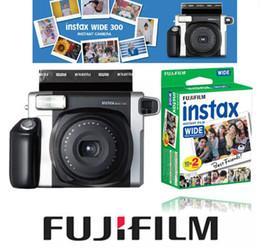 Wholesale Fuji Media - 100% Authentic Fujifilm Instax WIDE 300 Film Instant Camera + Fuji Instant 210 Wide Plain White Frame 20 Sheets Color Photos