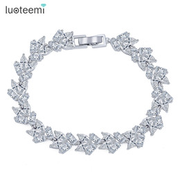 Wholesale Jewlery Sets Indian - LUOTEEMI Brand New Vintage Bracelet Geometric Zircon Charm Simple Bangle White Gold-Color Jewlery Women Chain Christmas Gifts