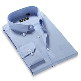 Wholesale Dress Shirts For Mens - Wholesale- Spring 2016 New Fashion Mens Dress Shirts Long-sleeved Solid Color Button Down Regular Fit Business Casual Oxford Shirt For Men