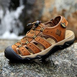 caade03fd1c Wholesale-2016 new summer brand classic style men s sandals toe cap  covering genuine leather man beach sandals brown plus size 38-47
