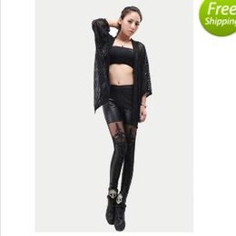 Wholesale Wholesale Lace Leggings For Women - New 2015 Punk Sexy PU Leather legging fashion Stitching Embroidery Bundled Hollow Lace Black Leggings for Women Hot S102 DHL FREE SHIPPING