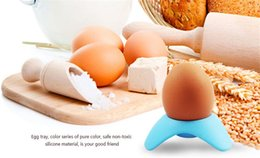 Wholesale Seat Rest - Single Egg Seat Colorful Put The Egg Tool Creative Food Grade Silicone Egg Cup Holder Resting Eggs Frame Seat