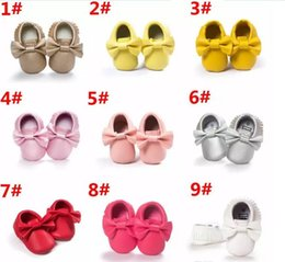 Wholesale Toddler Cute - 64 Style Baby Moccasins Soft Sole Shoe PU Leather First Walker Shoes Cute Baby Newborn Matte Texture Shoes Tassels Maccasions Toddler Shoes