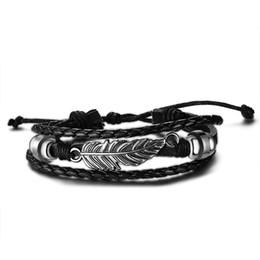 Wholesale Vintage Bl - Vintage Men Leather Bracelet High Quality Feather Charms Bracelets &Bangles Rock Punk Bracelets BL-052
