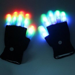 Wholesale Led Lighted Gloves - 1 pair LED Glow Gloves Rave Light Flashing Finger Lighting Glow Mittens Magic luminous gloves Party Accessory