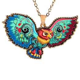 Wholesale Cute Owl Paintings - 2017 fashion cute animal necklace metal acrylic alloy color Painted owl pendant necklace statement hip hop Jewelry wholesale free shipping