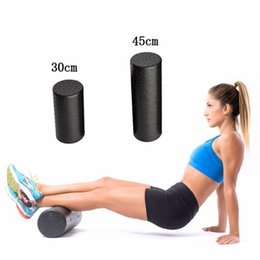 Wholesale fitness foam roller exercises - Wholesale-30cm 45cm Black Yoga Fitness Equipment Foam Roller Blocks Pilates Fitness Crossfit Gym Exercises Physio Massage Roller