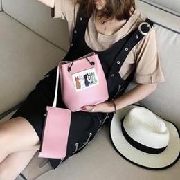 Wholesale Designer Bas - 2017 Early Summer New Korean Fashion Women's handbag Print Handbags Cartoon Cats Pink Black Simple Shouder Bag Designer Tote Handbag Ba