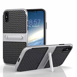 Wholesale Lanyard Plastic Case - V-erus Stand Case For Iphone X 8 7 6 6s Plus Samsung Note 8 S8 Plus High Quality Kickstand Shockproof Cover With lanyard Hole OPPBAG