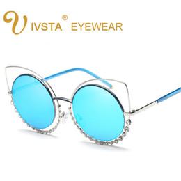 Wholesale Rectangle Green Ring - IVSTA 2017 Fashion Sunglasses Women So Nice Real Double Diamond Ring Cat Eye Sunglasses Woman Pink Mirror Lenses