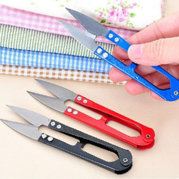 Wholesale Thread Trimmer Wholesale - U Shape Clippers Trimming Scissors Sewing Tool Embroidery Snips Beading Thrum Thread Cutter Nippers Mini Scissors