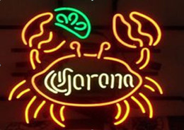 Wholesale Lighted Tire Signs - New Tat tire Neon Beer Sign Bar Sign Real Glass Neon Light Beer Sign Corona Big Crab Art Light Neon 16x14