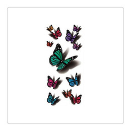 Wholesale Tattoo Flash Butterfly - High Quality Temporary Tattoo Wholesale Waterproof Flash Metallic Tattoos Body Jewelry Tattoo Multicolor Butterfly Body Art Free Shipping