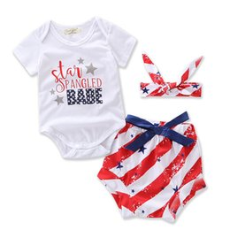 american flags pants wholesale Coupons - INS Baby American Flag Clothing Sets Summer Newborn Cotton 3pcs Suit Romper+Tutu Pants+headband Infant Clothes Birthday Gifts WX-D32