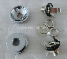 Wholesale Pack Guitar - Guitar parts 2sets Pack Round guitar jack plate Chrome cup guitar socket with1 4 output jack