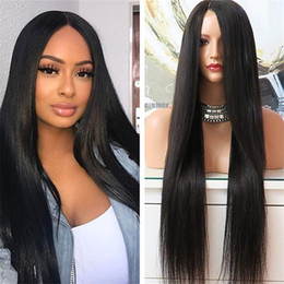 Wholesale Chinese Virgin Wig - 8 to 32inch Stock Human Hair Wig Silk Straight Top Quality Malaysian Virgin Lace Front Wig Free Shipping