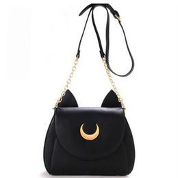 Wholesale Cat Phone Chain - 2017 New Summer Limited Sailor Moon Chain Shoulder Bag Ladies Luna Cat PU Leather Handbag Casual Ladies Women Messenger Crossbody Small Bag