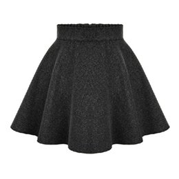 Wholesale Woolen Pleated Mini Skirt - 2015 New Winter Ladies High Waist Skirts Womens Woolen Midi skirt Ladies Tutu Pleated Skirt Plus Size mini skirt saia Gray Black