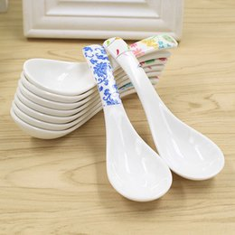 Wholesale Melamine Dinner - Wholesale- Tableware Melamine Spoon Flower Printed Plastic Spoon Soup Spoon Dinner Dinnerware Kitchen Tableware Tools