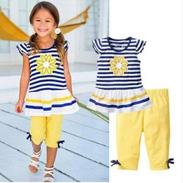 Wholesale Stripe Shirt Girl Baby - Cute Baby Kids Girls Clothes Sunflower Stripe T-shirt Tops + Yellow Leggings 2pcs Outfit Sets 2017 Summer Children Girl Clothing Set