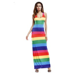 Wholesale Rainbow Dress Maxi - Women Beach Dress 2017 Maxi Long Dress Boho Casual New Summer Wedding Evenings Party Sleeveless V-neck Rainbow Dress