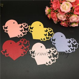 Wholesale Laser Shipping Labels - 60pcs Laser Heart Tags Wishing Tree Gifts Message Card Label Card Wedding Party Decoration Supplies Free Shipping