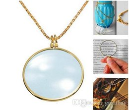 Wholesale Magnifying Glass Gold - 6x Magnifier Pendant Necklace Magnify Glass Reeding Decorative Monocle Necklace Worldbusiness(Gold,Silver)