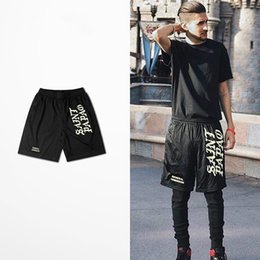 Wholesale Elastic High Waist Shorts - Dark High Street Tide Brand Skateboard Shorts Kanye West General Admission Saint Papo Saint Pablo Print Bboy Mesh Casual Shorts