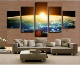 Wholesale Sunrise Wall Art Home Decor - 5 Panel Modern Sunrise Space Universe Picture Painting Cuadros Wall Decor Canvas Art Home Decor For Living Room(No Frame)
