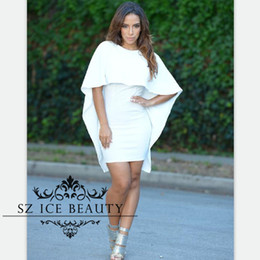 Wholesale Kim Kardashian Summer Cocktail Dresses - Kim Kardashian Short Litlle White Dresses Cocktail With 1 2 Long Sleeves Cape Cloak O Neck Sexy Backless Sheath Nightclub Party Gown