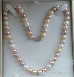 Wholesale Black Pearls 8mm - Charming 18inch Akoya AAA 7-8mm Multicolor Pearl Necklace
