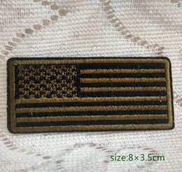 Wholesale Tan Shirts - US Coyote Black   Tan United States Arm Flag Badge Iron on Embroidered patch Gift shirt bag trousers coat Vest Individuality