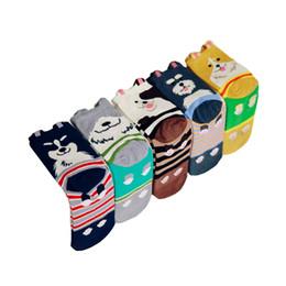 Wholesale Cotton Coffee Sock - New Fashion Cartoon Cotton Women's Socks Animal Husky Schnauzer Sheepdog Four Seasons Yellow Navy Coffee Gray Ankle Knitted Girl Stockings