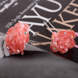 Wholesale Wedding Accesories For Hair - 2017 New Bohemia Exquisite Crystal Small Rose Flower Hair Pins For Women Wedding Bridal Hair Jewelry Hairpins Accesories
