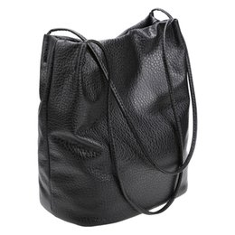 Wholesale Gray Shopping Bags - Wholesale-Women Fashion Shopping Shoulder Bag Solid Tote Messenger Bag Soft Big Capacity Bucket Bag Gray Gold Black