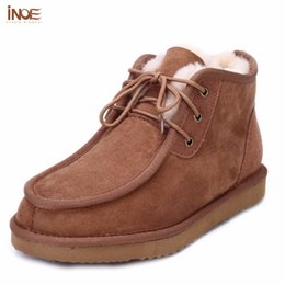 Wholesale Real Gentleman - Wholesale- INOE Beckham same style fashion men snow boots gentleman winter shoes real sheepskin leather fur lined flats boots high quality