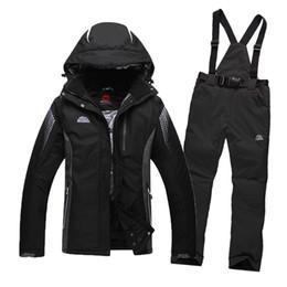 Wholesale Cream White Suits Men - Wholesale- Free Shipping 2016 Men's Ski Suit Waterproof Windproof Ski Jacket + Trousers Thicken Warm Clothing Pants Men Snowboard Mountaine