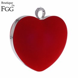 Wholesale Heart Shaped Crystal Box - Red Velour Knuckle Box Crystal Finger Rings Women Metal Heart Evening Party Clutches Bag Bridal Wedding Chain Shoulder Handbags