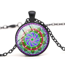 pendente all'ingrosso del mandala Sconti Flower Mandala Pendant Necklace Pink Vintage Glass Cabochon Dome per abbigliamento donna gioielli Accessorio Regalo fai da te all'ingrosso