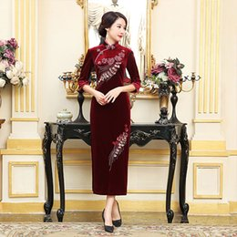 Wholesale Winter Velvet Wedding Dress - 2017 New high quality plus size 3 4 long sleeve 100%velvet embroidery flower purple blue wine red long cheongsam wedding dress qipao