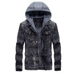 Wholesale Mens Hooded Denim Jacket Winter Coats Jeans Jackets For Man Thicker Warm Outwear Overcoat Tops Brand Joobox XL XXL New Arrival