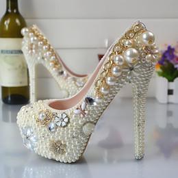 Gros mousseux perles fleurs Cendrillon chaussures fait à la main bal de soirée haute talons perlés strass demoiselle d'honneur de mariage chaussures de mariage 137 ? partir de fabricateur